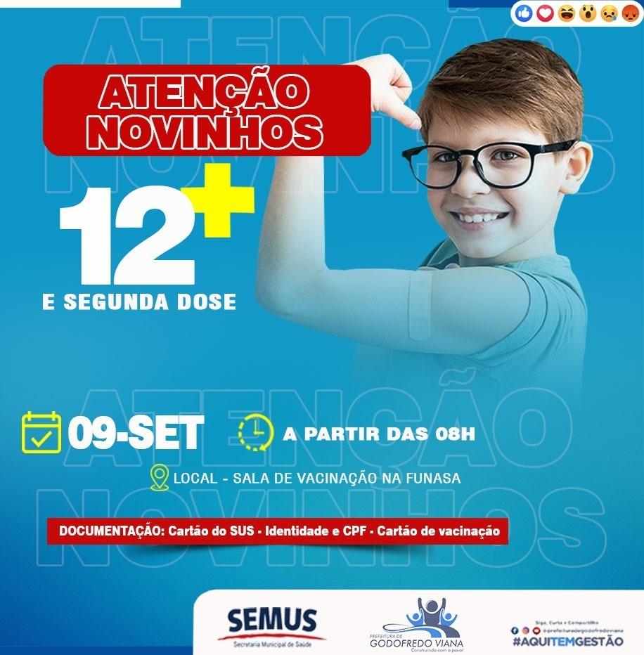 Prefeitura de Godofredo Viana vacina adolescentes de 12 anos nesta quinta-feira (09)